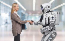 ロボットと握手